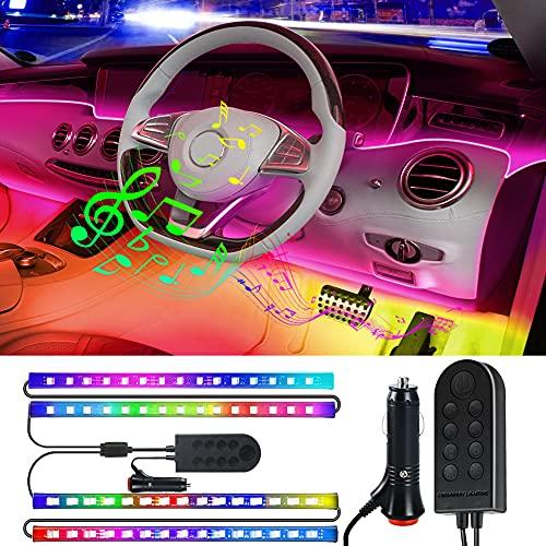CNSUNWAY Tiras Interiores LED Coche, kit de iluminación 4pzs, luces de coche activadas por sonido de música multicolores con diseño 2 en 1, encendedor incluido