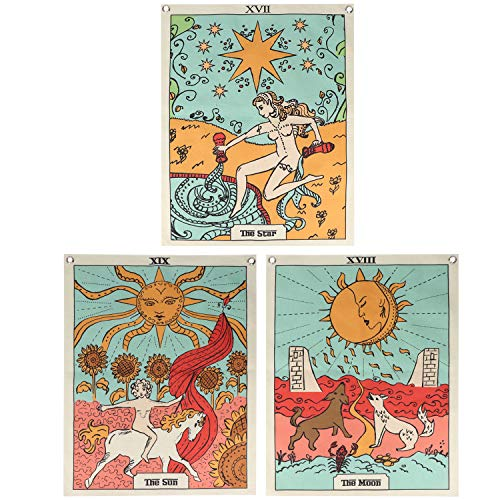 GUIFIER 3 Pcs Tarot Card Wall Tapestry, The Moon The Star and Sun Tapestries set, Color Wall Hanging Tapestry for Home Decor, 19.7x15.7 inch