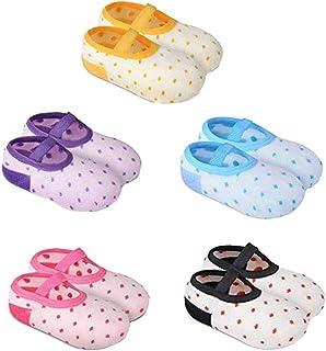 TOYANDONA 5 Pairs Baby Boys Girls Cotton Slipper Shoe Socks Anti Slip Grip Room Floor Socks Slipper for 1-3 Years Old Baby (Random Color)