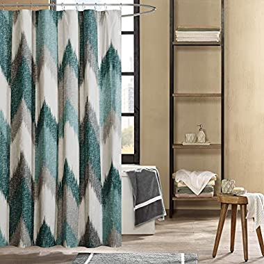 Ink+Ivy Cotton Printed Shower Curtain 72x72/Aqua