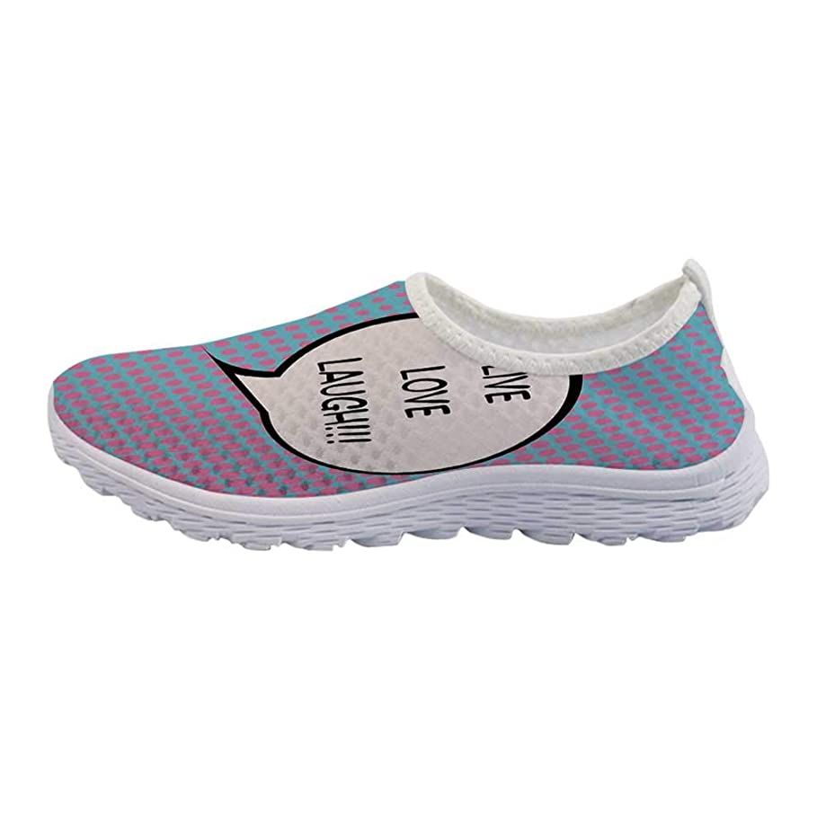 Live Laugh Love Decor Mesh Sneakers Running Shoes,Geometric Colorful Backdrop Polygonal Mosaic Happiness Quote Words Decorative for Women Girls,US Size 5