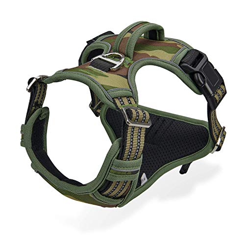No Pull Harness for Large Dogs Medium Dogs - Adjustable Easy Control Dog Harness with Handle - Durable Reflective Vest Harness for Dog Walking Running Hiking Heavy Duty Tactical Military Training …