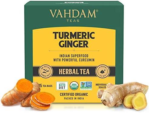 VAHDAM Organic Turmeric Ginger Powerful SUPERFOOD Blend 30 Tea Bag Herbal Tea Powerful Wellness product image