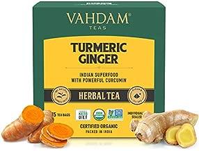 VAHDAM, Organic Turmeric + Ginger Powerful SUPERFOOD Blend (30 Tea Bag) Herbal Tea   Powerful Wellness & Healing Properties of Turmeric & Ginger   100% Natural   Brew as Hot or Iced Tea