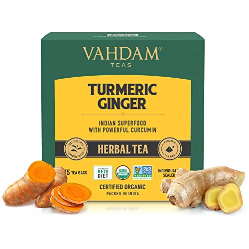 VAHDAM, Organic Turmeric + Ginger Powerful SUPERFOOD Blend (30 Tea Bag) Herbal Tea | Powerful Wellness & Healing Properties of Turmeric & Ginger | 100% Natural | Brew as Hot or Iced Tea