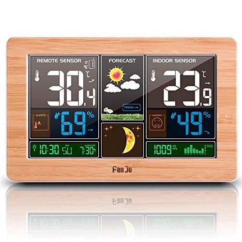 FanJu FJ3378W Wetterstation Funk mit Außensensor/ USB-Anschluss / Innen-/Außentemperatur und Luftfeuchtigkeit / Uhr / Mondphase / Uhren mit Wetterstation
