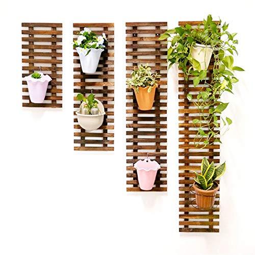 XHZJ Holzzaun Wand Pflanze Pflanze Blumenständer Wand Bonsai Display Regal Holz Klettergerüst Schwimmende Regale Pflanzenhänger Pflanzen Klettergerüst