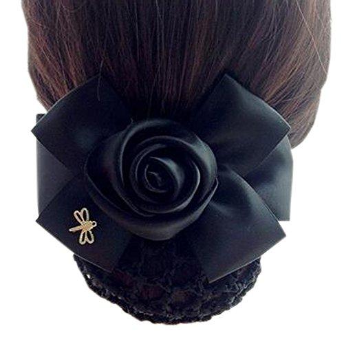 Fleur de dames, élastique, couvre-cheveux, cheveux, cheveux, Snood, Bowtie, mailles, 1, pur, noir