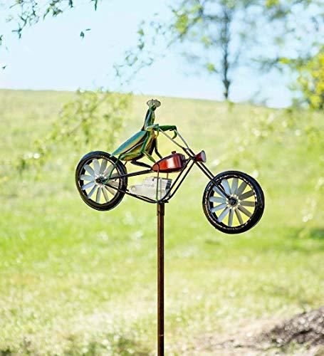 HJXX Spinner de Viento de Metal de Bicicleta Vintage, Lindo Animal en Bicicleta Spinner Mental, para Estatua, Escultura, Patio, decoración de césped (Praying Mantis)
