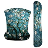 Keyboard Wrist Rest Pad Ergonomic Mouse Pad Set, ToLuLu Gel Mouse Pad Wrist Support for Computer Laptop, Mousepad Keyboard Wrist Support with Memory Foam for Easy Typing Pain Relief, Van Gogh Painting