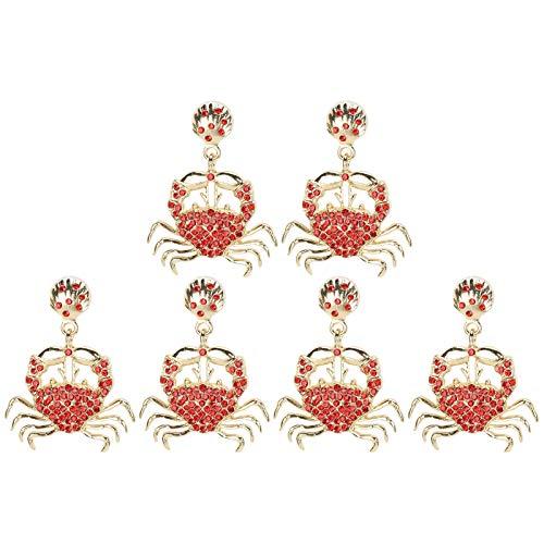 Tomanbery Pendientes Colgantes Pendientes Diamante Encantador y Ligero Cangrejo pequeño para perforar Las Orejas Joyería de Las niñas Regalo de Las Mujeres
