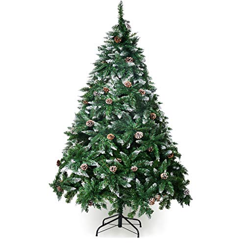 Winregh 4,5,6,7.5 Foot Artificial Christmas Tree Snow Flocked Hinged Pine Cone Decoration Unlit(6 Foot)