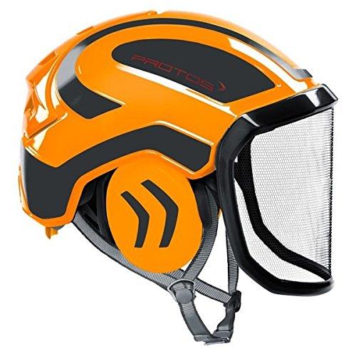 Protos Casque de sécurité intégral arborist, couleur : orange/gris, équipement : visière fine.