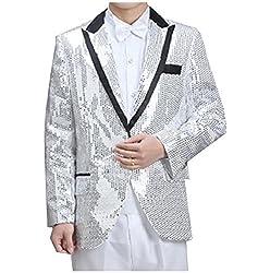 Argent Turn-Down Collar Sequin Glitter Blazer Jacket