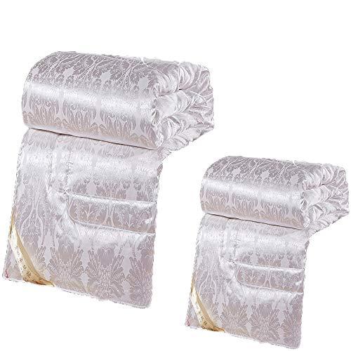 VEDKYY Mulberry Silk Duvets King Size All Seasons Duvet Double Lightweight Queen Quilts Single Double Duvet Kingsizes 13.5 Tog Anti Allergy,2 in 1 Heavy Duvet Winter,White,180 * 220(4.5+10.5tog)