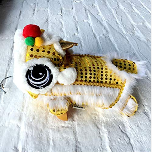 WORDERFUL Dog Costume Cute Lion Dance Pet Costume with Red Sequins New Year Cat Dog Clothes Hoodies Coat for Small Dogs (24, Yellow)