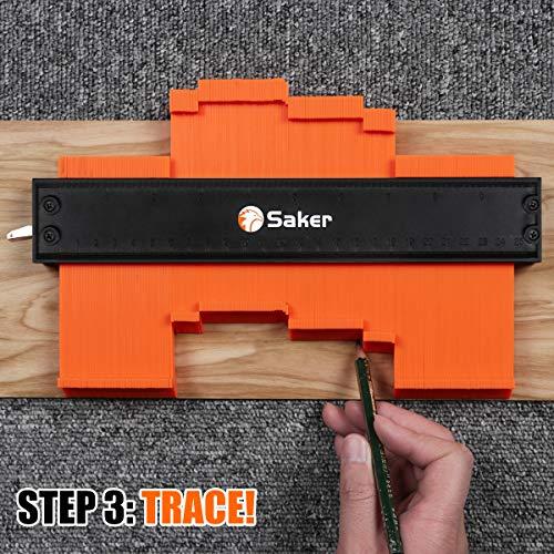 Saker Contour Gauge (10 Inch Lock) Profile Tool- Adjustable Lock-Precisely Copy Irregular Shape Duplicator -Irregular Welding Woodworking Tracing - Must Have Tool for DIY Handyman, Construction