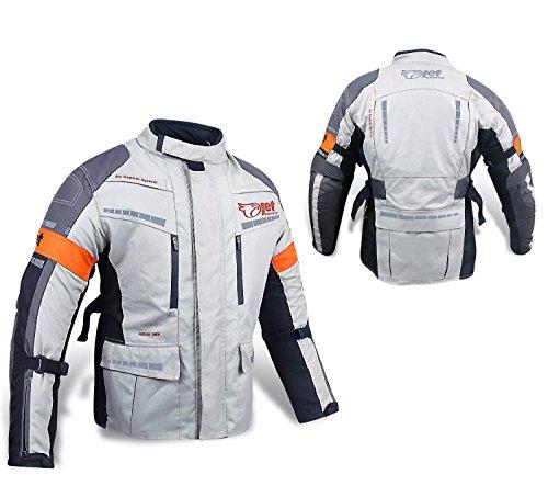 Jet Motorradjacke Herren Mit Protektoren Textil Wasserdicht Winddicht Silber Grau (4XL (EU 58-60))