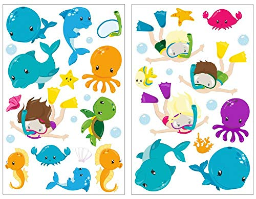 Samunshi® 34x Wandsticker Ozean Tiere Wandtattoo Kinderzimmer Mädchen Jungen Kinder Wandtattoo Babyzimmer Deko Junge Wall Stickers 2X 16x26cm