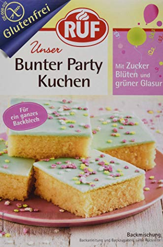 RUF Glutenfreier Partykuchen Blechkuchen mit grüner Glasur und Zucker Blüten, 815 g 13624