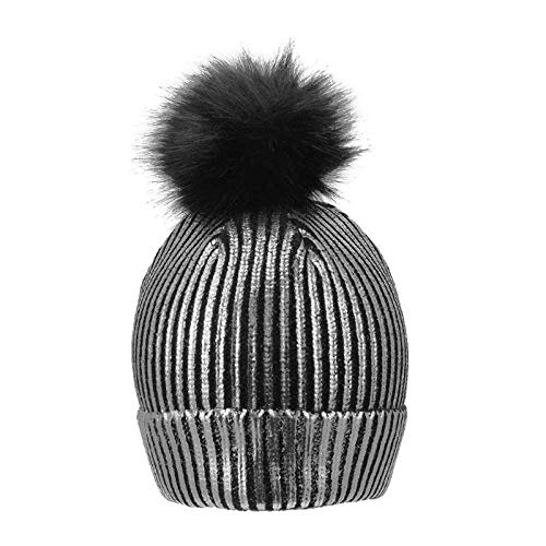 Sombreros Dorados Brillantes de Invierno para Mujeres niñas niñas Gorra de pompón de Plata Dorada Sombreros para Mujeres Gorras de Bola de Piel cálida de Punto de Invierno Caliente, A