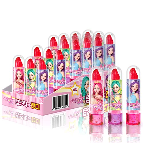 TREE FARM Secret Jouju Lipstick-shaped Candy Individually Wrapped 18 PCS | Birthday Candy Gift Box | Party Candy for Kids Birthday | Princess Candy Pack for Halloween, Christmas, Easters, Valentine's