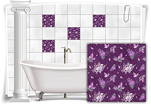 Medianlux M13m153-140715 - Adhesivo decorativo para azulejos (12 unidades, 15 x 15 cm), diseño floral