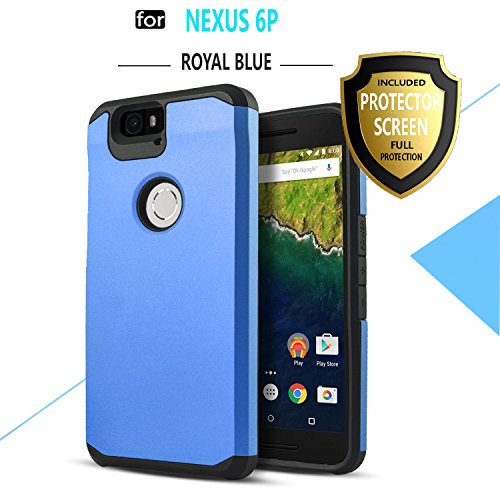 Nexus 6P Case, Starshop Hybrid Heavy Duty Rugged Impact Advanced Armor Soft Silicone Cover with [ Premium HD Screen Protector Included](Royal Blue)