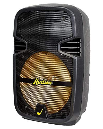 Hudson Bafle bocina Amplificador 8 Pulgadas, Bluetooth y con batería Recargable, micrófono 3.5mm, luz led Miel con opción de...