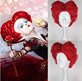 Blue Bird Alice's Adventures in Wonderland Red Queen Anime Cosplay Wig Synthetic Short Curly Red Hair for Women Girls Halloween Anime Party