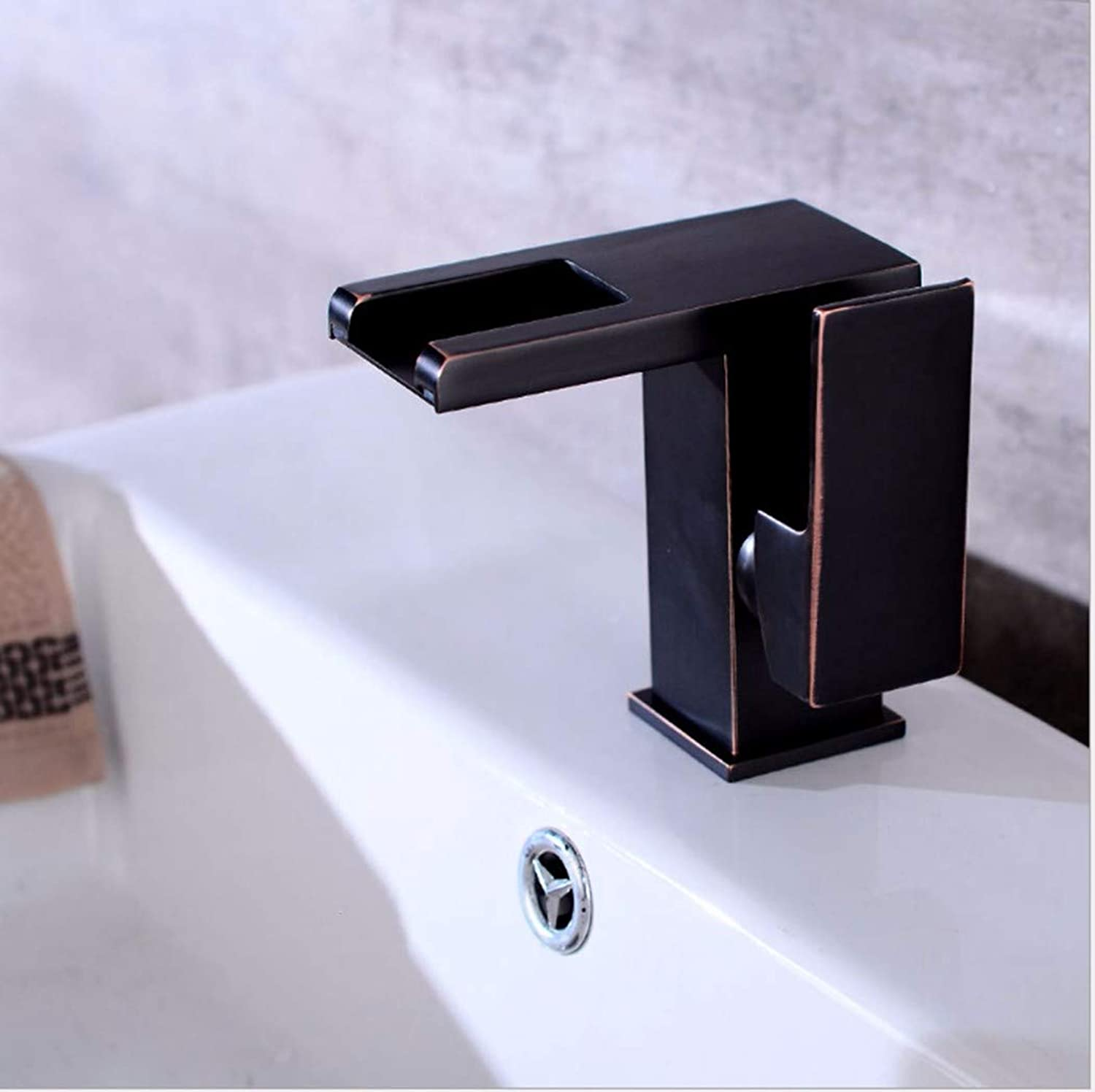 PatTheTap Waterfall Faucet Retro Metal Copper for Bathrooms Washbasins Hot Cold Mix Temperature Control