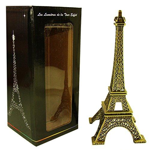Souvenirs de France - Tour Eiffel Miniature Métal Lumineuse - Couleur : Bronze (18 cm)