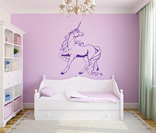 Sticker mural autocollant Motif licorne Sticker mural 60 x 70 cm dans 33 couleurs mat ou brillant - Gris mat
