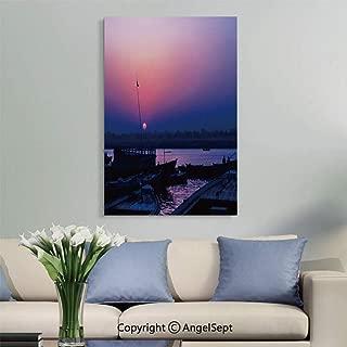 SfeatruAngel_SOSUNG Framed Wall Art Canvas Painting,Scenic Sunset in Beautiful Varanasi (Uttar Pradesh, India)(12