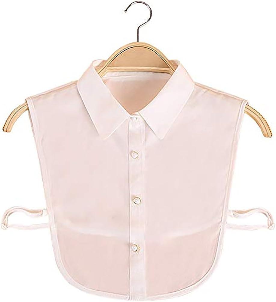 LANGUGU Stylish Detachable Half Shirt Blouse Chiffon False Collar Solid Color Fake Collar Shirt Collar
