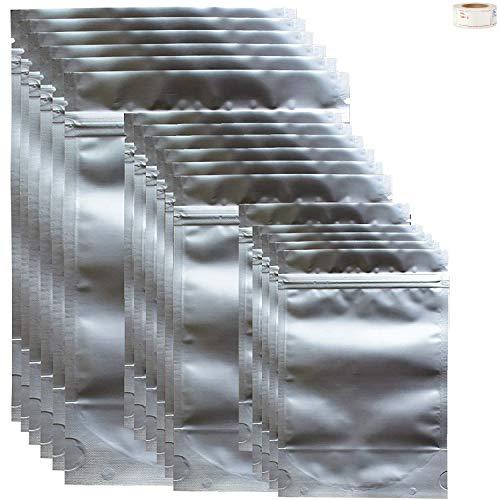 TAOQILE 30 Piezas (3 tamaños) Mylar Bolsas Cierre Hermético Bolsa de Papel de Aluminio Ziplock Bolsas Mylar Bolsas de Almacenamiento, Mylar Resellables Bolsa (7 x 10 in + 10 x 14 in + 13 x 20 in)