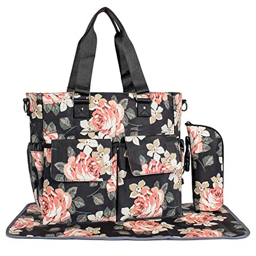Womens Large Floral Diaper Bag Waterproof Tote Messenger Bag Changing Pad Black