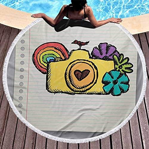 Toalla de playa sin arena Doodle Tassels Circle Beach Manta Cámara amarilla con flores de muchos colores Mini pájaro arcoíris en el cuaderno utilizado para meditación, descanso junto a la piscina (diá
