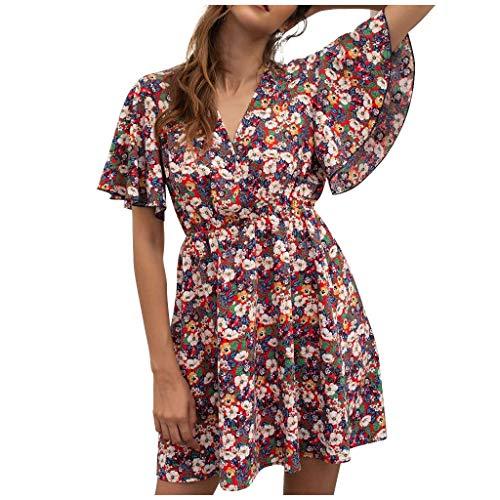 Vestidos Cortos Mujer Verano 2020, Mini Vestido de Playa con Estampado Floral, Vestido de Fiesta Suelto Sexy, Cuello V, Manga Corta, Ropa de Playa, Bikini Cover Up, Rebajados