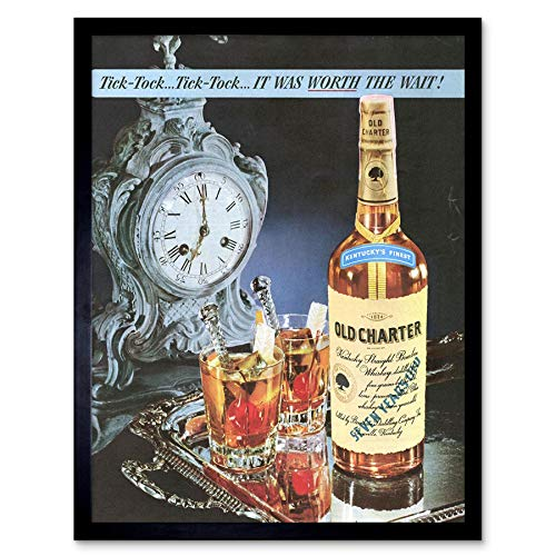 Reclame drank Bourbon Whisky oude charter drank Art Print ingelijst poster muur Decor 12X16 Inch