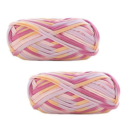Paquete de 2 hilados coloridos de tela de ganchillo de tela de tela de ganchillo para bricolaje...