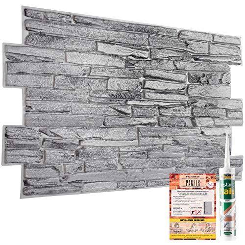 Paneles de pared decorativos de ladrillo de piedra de roca gris natural,...