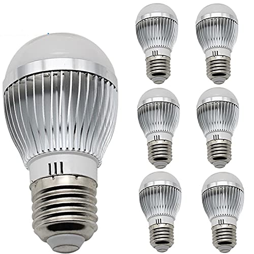 GHC - Lámpara LED de 6 piezas, lámpara LED de alta potencia, radiador de aluminio, blanco frío, blanco cálido, 12 V, 3 W, casquillo E27, de alta calidad, de fábrica (color: blanco frío)