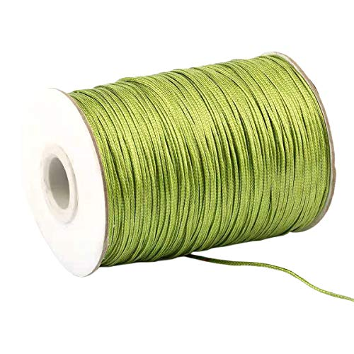 Yzsfirm 1.5mm 175 Yards Jewelry Making Beading and Crafting Macrame Olive Green Waxed Cord Thread for Braided Bracelet DIY Making