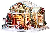 Casa De Juguete De Bricolaje Navideño, Kit De Casa De Juguete En Miniatura, Modelo De Noche Nevada De Navidad, Bungalow De Madera Ensamblado A Mano Con Luces LED Para Muebles, Regalo De Arte Romántico