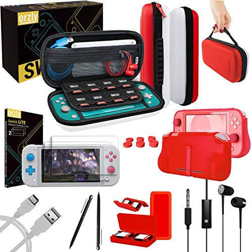 Orzly Switch Lite Accessories Bundle - Case & Screen Protector for Nintendo Switch Lite Console, USB Cable, Games Holder, Comfort Grip Case, Headphones, Thumb-Grip Pack & more [Red/White]