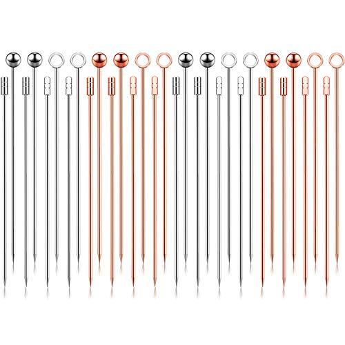 Palillos de Cóctel de Acero Inoxidable Palillos de Fruta Multicolores Palitos de Bebida de Aperitivo para Bar Barbacoa Sándwiches (Plata, Oro Rosa, 32)