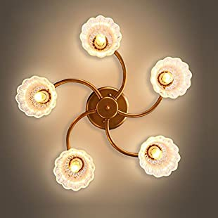 European Luxury Copper Living Room Ceiling Light 5 Heads Handmade Crystal Lampshade Parlor Ceiling Lighting Fixtures:Wenstyle