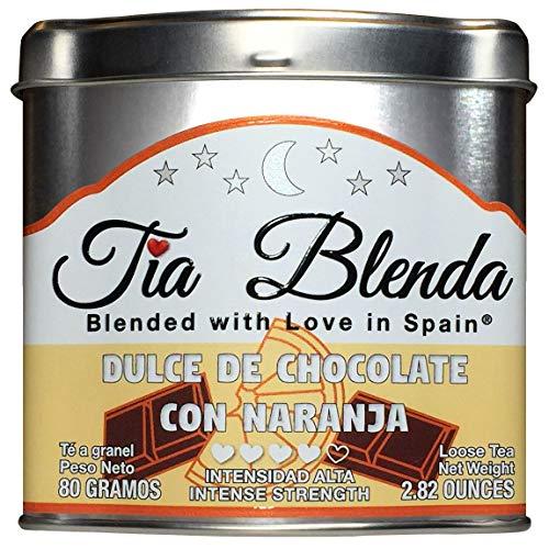 TIA BLENDA - DULCE DE CHOCOLATE CON NARANJA (80 g) - Exquisito TÉ NEGRO Indio Assam BOP Premium con CACAO y NARANJA. Te en hojas. 40 - 50 tazas. Presentacion premium en lata. Loose Tea Caddy.