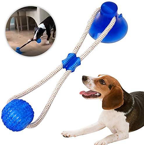 GingerUP Kauball Spielzeug für Hunde, mit Saugnapf, Hundespielzeug, Hundespielzeug, Zahnbürstenspielzeug, langlebiges Hundespielzeug mit Saugnapf, Ziehen, Kauen, Spielen